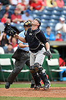 New York Yankees catcher Brian McCann (34) during a Spring Training game against the Philadelphia Phillies on March 27, 2015 at Bright House Field in Clearwater, Florida.  New York defeated Philadelphia 10-0.  (Mike Janes/Four Seam Images)