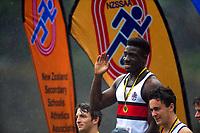Edward Osei-Nketia (Scots College), winner of the senior boys' 100m final. 2019 New Zealand Secondary Schools Athletics Championships at Newtown Park in Wellington, New Zealand on Sunday, 8 December 2019. Photo: Dave Lintott / lintottphoto.co.nz