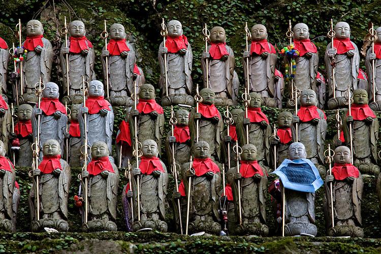 Small Jizo Bodhisattva statues act as a shrine to stillborn children at Engyoji Temple on Mount Shosha