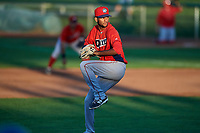 Orem Owlz starting pitcher Cristopher Molina (24) delivers a pitch to the plate against the Ogden Raptors at Lindquist Field on September 2, 2017 in Ogden, Utah. Ogden defeated Orem 16-4. (Stephen Smith/Four Seam Images)