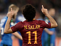 Calcio, Serie A: Roma, stadio Olimpico, 19 marzo, 2017<br /> Roma's Mohamed Salah celebrates after scoring during the Italian Serie A football match between Roma and Sassuolo at Rome's Olympic stadium, March 19, 2017<br /> UPDATE IMAGES PRESS/Isabella Bonotto