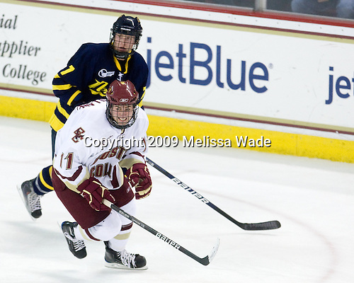 Karl Stollery (Merrimack - 7), Pat Mullane, Boston College, Eagles,19900731, - The Boston College Eagles defeated the Merrimack College Warriors 4-3 on Friday, October 30, 2009, at Conte Forum in Chestnut Hill, Massachusetts.