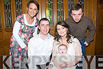 Baby Grace Quaid with her parents David & Cliona Quaid, Athea who was christened in St Bartholomew's Church< Athea by Fr. Bowen on Saturday last and afterwards at Leen's Hotel, Abbeyfeale. L- R : Catherine Sheehan, David & Cliona Quaid with  Grace & Gareth Finn.