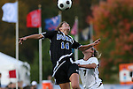 05 November 2008: Duke's Christie McDonald (14) and Boston College's Amy Caldwell (7). Boston College defeated Duke University 1-0 at Koka Booth Stadium at WakeMed Soccer Park in Cary, NC in a women's ACC tournament quarterfinal game.