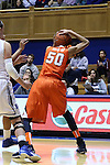 08 January 2015: Syracuse's Briana Day (50) grabs the ball off the back of her neck. The Duke University Blue Devils hosted the Syracuse University Orange at Cameron Indoor Stadium in Durham, North Carolina in a 2014-15 NCAA Division I Women's Basketball game. Duke won the game 74-72.