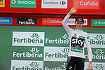 Race leader Christopher Froome (GBR) Team Sky retains the Combined Jersey on the podium at the end of Stage 10 of the 2017 La Vuelta, running 164.8km from Caravaca A&ntilde;o Jubilar 2017 to ElPozo Alimentaci&oacute;n, Spain. 29th August 2017.<br /> Picture: Unipublic/&copy;photogomezsport | Cyclefile<br /> <br /> <br /> All photos usage must carry mandatory copyright credit (&copy; Cyclefile | Unipublic/&copy;photogomezsport)