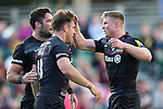 Saracens' Chris Wyles celebrates scoring his side's 1st try with Saracens' Brad Barritt and Chris Ashton - Rugby Union - 2014 / 2015 Aviva Premiership - Saracens vs. Gloucester - Allianz Park Stadium - London - 11/10/2014 - Pic Charlie Forgham-Bailey/Sportimage