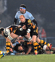 Rugby. High Wycombe, England. Joe Simpson of London Waspsin action during the Amlin Challenge Cup match between London Wasps vs Bayonne at Adams Park on December 13, 2012 in High Wycombe, England.