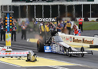 May 10, 2013; Commerce, GA, USA: NHRA top fuel dragster driver Antron Brown during qualifying for the Southern Nationals at Atlanta Dragway. Mandatory Credit: Mark J. Rebilas-