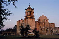 Mission San José at moonrise, San Antonio Missions National Historic Park, San Antonio,Texas, USA