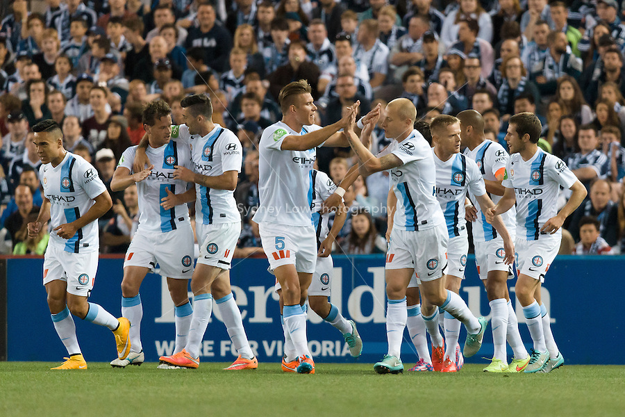 MELBOURNE 25 Oct 2014 – Dutch player Robbie WIELAERT of Melbourne City celebrates his goal in the round 3 match between Melbourne Victory and Melbourne City in the Australian Hyundai A-League 2014-15 season at Etihad Stadium, Melbourne, Australia.