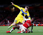 Arsenal's Eddie Nketiah tussles with Bate Borisov's Denis Polyakov during the Europa League Group H match at The Emirates Stadium, London. Picture date: December 7th 2017. Picture credit should read: David Klein/Sportimage