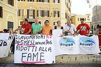 Roma,11 Agosto 2011.Piazza Montecitorio.Manifestazione dell'IDV davanti il Parlamento durante l'informativa di Tremonti sulla manovra economica