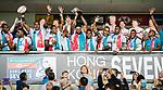 Fiji Team celebrates winning the Cup Final at the prize presentation as part of the HSBC Hong Kong Rugby Sevens 2018 on April 8, 2018 in Hong Kong, Hong Kong. Photo by Marcio Rodrigo Machado / Power Sport Images