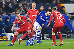 11.12.2018, VELTINS Arena, Gelsenkirchen, Deutschland, GER, UEFA Champions League, Gruppenphase, Gruppe D, FC Schalke 04 vs. FC Lokomotiv Moskva / Moskau<br /> <br /> DFL REGULATIONS PROHIBIT ANY USE OF PHOTOGRAPHS AS IMAGE SEQUENCES AND/OR QUASI-VIDEO.<br /> <br /> im Bild Zweikampf zwischen Suat Serdar (#8 Schalke) und Dmitri Barinov (#6 Moskau), Aleksei Miranchuk (#59 Moskau)<br /> <br /> Foto © nordphoto / Kurth