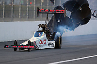 Feb 9, 2019; Pomona, CA, USA; NHRA top fuel driver Steve Torrence during qualifying for the Winternationals at Auto Club Raceway at Pomona. Mandatory Credit: Mark J. Rebilas-USA TODAY Sports