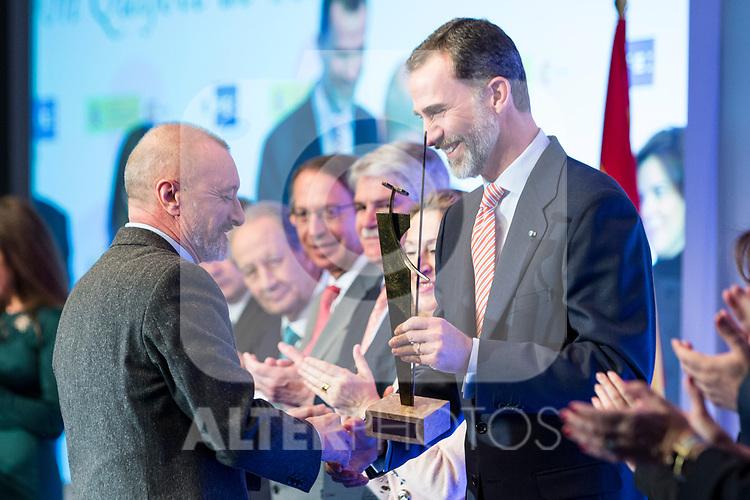 "Arturo Perez Reverte and Spanish king Felipe attends XXXIV International prizes of journalism ""Rey de Espana"" and the XIII edition of the prize ""Don Quijote"" of journalism in Madrid, Spain. March 27, 2017. (ALTERPHOTOS / Rodrigo Jimenez)"