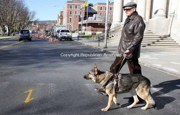 WATERBURY CT. 23 November 2015-112315SV05-Ross Kirk of Waterbury, who is blind, with his dog Zeva, tries to cross the street in a clearly marked crosswalk on West Main Street in Waterbury Monday.<br /> Steven Valenti Republican-American
