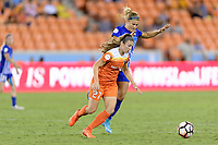 Houston, TX - Wednesday June 28, 2017: Caity Heap, and Rosie White chase after a loose ball during a regular season National Women's Soccer League (NWSL) match between the Houston Dash and the Boston Breakers at BBVA Compass Stadium.