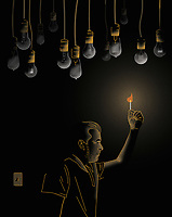 Man burning matchstick for light and ignoring light switch ExclusiveImage