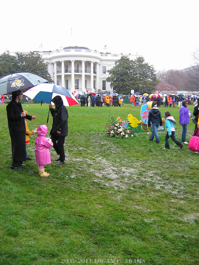 Hundreds of families roaming across the South Lawn during the 2005 White House Easter Egg Roll produced countless patchs of mud.
