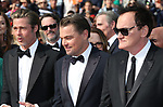 "72nd edition of the Cannes Film Festival in Cannes in Cannes, southern France on May 21, 2019. Red Carpet for the screening of the film ""Once Upon a Time... in Hollywood"" US actor Brad Pitt, US actor Leonardo DiCaprio, US film director, screenwriter, producer, and actor Quentin Tarantino,"