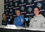 3 December 2005: Head coach Jillian Ellis (l), Stephanie Kron, and Bristyn Davis (r). The UCLA Bruins held a press conference the day before playing in the NCAA Women's College Cup, the Division I Championship soccer game at Aggie Soccer Stadium in College Station, TX.