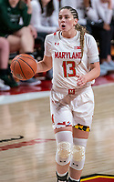 COLLEGE PARK, MD - DECEMBER 8: Faith Masonius #13 of Maryland on the attack during a game between Loyola University and University of Maryland at Xfinity Center on December 8, 2019 in College Park, Maryland.