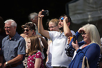 Pictured: People watching one of the performances on stage Saturday 13 August 2016<br />Re: Grow Wild event at  Furnace to Flowers site in Ebbw Vale, Wales, UK