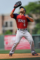 First baseman Jose Marmolejos-Diaz (6) of the Hagerstown Suns, in a game against the Greenville Drive on May 12, 2015, at Fluor Field at the West End in Greenville, South Carolina. Greenville won, 4-0. (Tom Priddy/Four Seam Images)