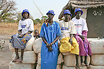 A Dinka women's group distributes Serena long-lasting insecticide treated mosquito nets to community members for the international NGO, Population Services International (PSI).  Sleeping under a mosquito net every night prevents the deadly disease, malaria, which is transmitted through the bite of an infected mosquito.