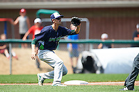 Vermont Lake Monsters third baseman Luke Persico (32) waits for a throw during a game against the Auburn Doubledays on July 13, 2016 at Falcon Park in Auburn, New York.  Auburn defeated Vermont 8-4.  (Mike Janes/Four Seam Images)