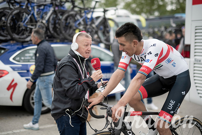 """Juan Sebastián Molano (COL/UAE-Team Emirates) interviewed by colombian press after stage 2 (Bologna to Fucecchio).<br /> 2 days later Molano would be taken out of the race by his team for """"unusual physiological results""""...<br /> <br /> 102nd Giro d'Italia 2019<br /> <br /> ©kramon"""