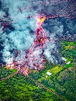 Fissure 8 eruptions and lava flows, Pahoa, Puna, Big Island, Hawaii, USA