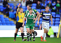 Brendan McKibbin of London Irish is shown a red card for stamping by referee Tom Foley. Aviva Premiership match, between London Irish and Bath Rugby on November 7, 2015 at the Madejski Stadium in Reading, England. Photo by: Patrick Khachfe / Onside Images