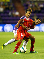Real Valladolid´s Alvaro Rubio and Getafe's Diego Castro (r) during La Liga match.August 31,2013. (ALTERPHOTOS/Victor Blanco)