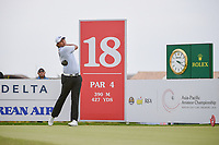 KK LIMBHASUT (THA) watches his tee shot on 18 during Rd 3 of the Asia-Pacific Amateur Championship, Sentosa Golf Club, Singapore. 10/6/2018.<br /> Picture: Golffile | Ken Murray<br /> <br /> <br /> All photo usage must carry mandatory copyright credit (© Golffile | Ken Murray)