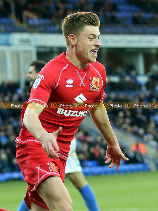 Harvey Barnes celebrates scoring MK Dons opening goal  during Peterborough United vs MK Dons, Sky Bet EFL League 1 Football at London Road on 28th January 2017