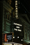 Theatre Marquee for the Broadway Opening Night performance Curtain Call Bows for 'Farinelli and the King' at The Belasco Theatre on December 17, 2017 in New York City.