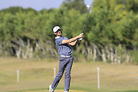 Tommy Fleetwood (ENG) plays his 2nd shot on the 9th hole during Thursday's Round 1 of the 2016 Portugal Masters held at the Oceanico Victoria Golf Course, Vilamoura, Algarve, Portugal. 19th October 2016.<br /> Picture: Eoin Clarke | Golffile<br /> <br /> <br /> All photos usage must carry mandatory copyright credit (&copy; Golffile | Eoin Clarke)