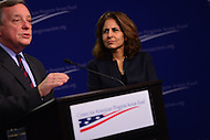 Washington, DC - January 24, 2017: Center for American Progress president Neera Tanden moderates a question and answer session with U.S. Senator Richard Durbin (D-IL) as he speaks about Russian influence and interference in the 2016 presidential election at the Center for American Progress in the District of Columbia, January 24, 2017.   (Photo by Don Baxter/Media Images International)