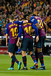 Philippe Coutinho of FC Barcelona (L) celebrating his score with Yerry Fernando Mina (R) and Jordi Alba of FC Barcelona (L) during the La Liga match between Barcelona and Real Sociedad at Camp Nou on May 20, 2018 in Barcelona, Spain. Photo by Vicens Gimenez / Power Sport Images