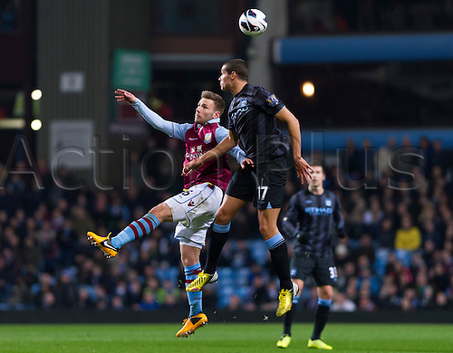 04.03.2013 Birmingham, England. Manchester City's Jack Rodwell and Aston Villa's Andreas Weimann  in action during the Premier League game between Aston Villa and Manchester City from Villa Park.