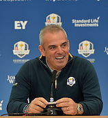 23.09.2014. Gleneagles, Auchterarder, Perthshire, Scotland.  The Ryder Cup.  Paul McGinley European Team Captain during his press conference.