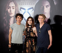 Robert Sheehan, Lily Collins and Jamie Campbell Bower attend a photocall for 'The Mortal Instruments: City Of Bones' ('Cazadores de Sombras: Ciudad de Hueso') at Villamagna Hotel on August 22, 2013 in Madrid, Spain. (Alterphotos/Victor Blanco)