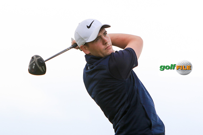 Robert Brazill (Naas) on the 18th tee during Round 2 of the North of Ireland Amateur Open Championship 2019 at Portstewart Golf Club, Portstewart, Co. Antrim on Tuesday 9th July 2019.<br /> Picture:  Thos Caffrey / Golffile<br /> <br /> All photos usage must carry mandatory copyright credit (© Golffile   Thos Caffrey)
