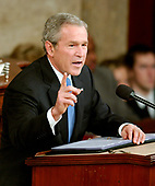 United States President George W. Bush delivers his annual State of the Union Address to a Joint Session of the United States Congress in the Capitol in Washington, D.C. on January 31, 2006.  <br /> Credit: Ron Sachs - CNP<br /> (RESTRICTION: NO New York or New Jersey Newspapers or newspapers within a 75 mile radius of New York City)