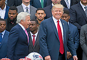 United States President Donald J. Trump arrives to welcome the Super Bowl Champion New England Patriots to the South Lawn of White House in Washington, DC on Wednesday, April 19, 2917.  New England Patriots owner Robert Kraft is a left.<br /> Credit: Ron Sachs / CNP<br /> (RESTRICTION: NO New York or New Jersey Newspapers or newspapers within a 75 mile radius of New York City)