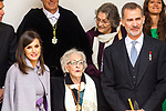 King Felipe VI of Spain, Queen Letizia and Uruguayan poet Ida Vitale (C) during the Cervantes Literature Prize ceremony at the University of Alcala in Madrid on April 23, 2019. (ALTERPHOTOS/Alconada).