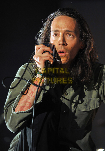 "Lead vocalist BRANDON BOYD of the band INCUBUS performs at Day 1 of the  'Rock On The Range Festival"" held at Crew Stadium, Columbus, OH., USA.                              .May 19th, 2012.on stage in concert live gig performance performing half length green shirt singing  .CAP/ADM/JN.©Jason L Nelson/AdMedia/Capital Pictures."